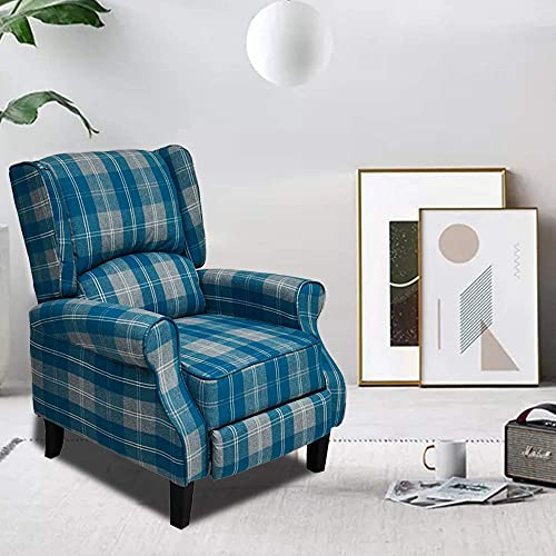 Recliner Adjustable TV Armchair Home Theater Seating High Back Blue Check Fabric