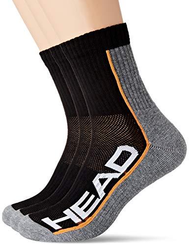 HEAD Unisex Unisex-Erwachsene Performance Short Crew Multipack Socken, 6er Pack, grey / black, 43-46