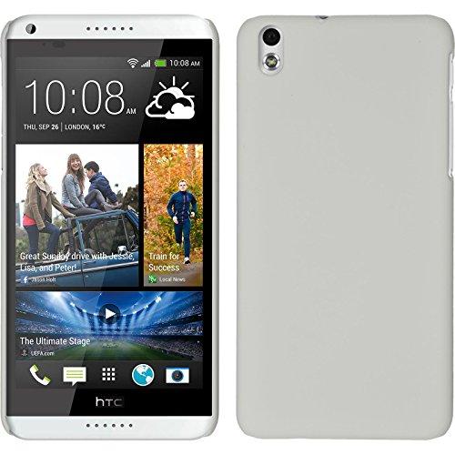 PhoneNatic Case kompatibel mit HTC Desire 816 - Hülle weiß gummiert Hard-case + 2 Schutzfolien