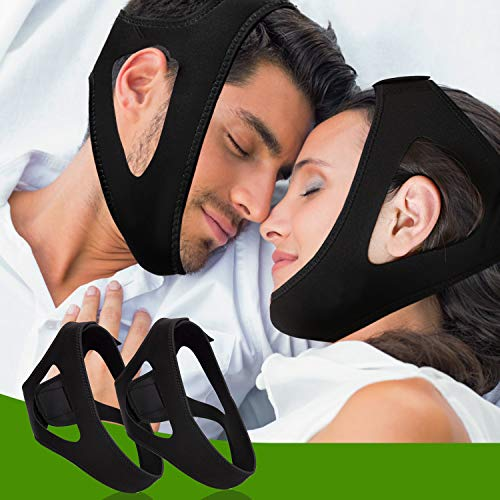 Noverlife 2 Pack Adjustable Anti Snoring Chin Straps, Snore Reduction Chin Strips, Stop Snoring Chin Strap Jaw Strap, Anti Snore Mask Band Snore Relief for Men Women
