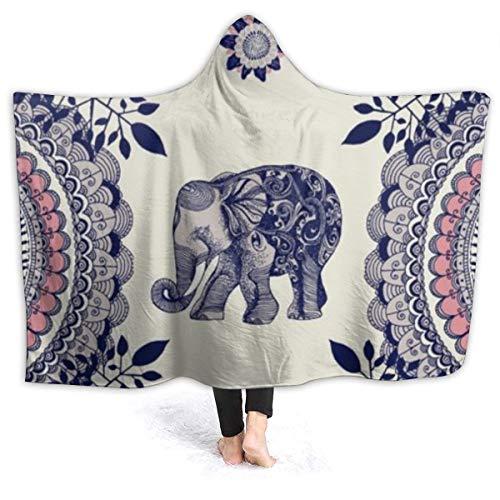 321DESIGN Exotischer Elefant tragbare Decke aus Fleece mit Kapuze, Umhang, Überwurf...