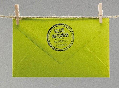 Personalisierter Stempel mit Namen & Adresse Individueller Adressstempel Rund mit Linien Motive