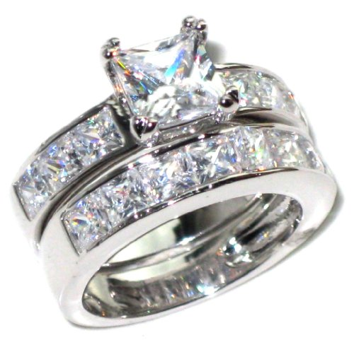 Stainless Steel Flawless Lab Diamonds Princess Cut Ring And Band Set (7.29g). Stamped.