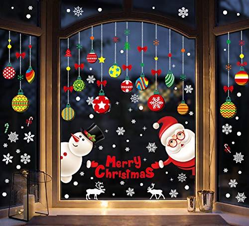 heekpek Pegatina de Navidad para ventana y puerta de ventana, diseño de Santa Claus Fruit Candy Ball extraíble decoración navideña adhesivo de PVC