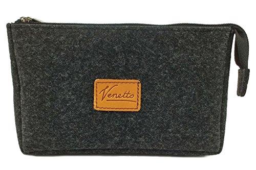 Banktasche Geldtasche Mappe Kulturtasche Kulturbeutel Tasche Reisetasche Geldmäppchen aus Filz (Schwarz meliert)