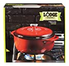 Lodge Enameled Cast Iron Dutch Oven With Stainless Steel Knob and Loop Handles, 6 Quart, Red #4