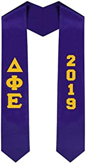 Custom Delta Phi Epsilon DPHIE Greek Lettered Graduation Sash Stole with Year