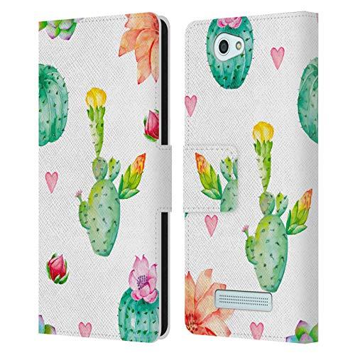 Head Hülle Designs Offizielle Haroulita Kaktus Multi Blumen Leder Brieftaschen Handyhülle Hülle Huelle kompatibel mit Wileyfox Spark/Plus