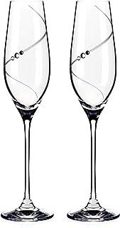 【DIAMANTE】Silhouette Champagne S/2【ディアマンテ】シルエット シャンパングラス スワロフスキー ペアセット
