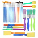 Complete Set of 30 Art Paint Brushes for Kids by Glokers - Variety of Paintbrushes for Watercolor, Oil,...