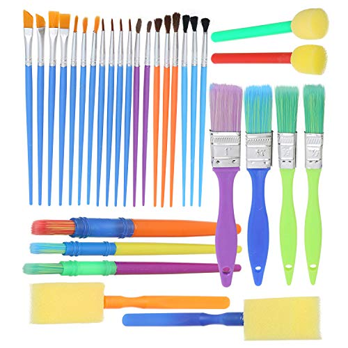 Complete Set of 30 Art Paint Brushes for Kids by Glokers - Variety of Paintbrushes for Watercolor, Oil, Acrylic & Tempera Paints - Kids Art Supplies Perfect for Ages 3+