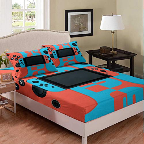 Erosebridal Gamepad Fitted Sheet for Kids Boys Children Teens Modern Gamer Bedding Set Video Game Gaming Sheet Set Vintage Blue Bed Cover Lightweight Decorative Room Twin Size(No Top Sheet)
