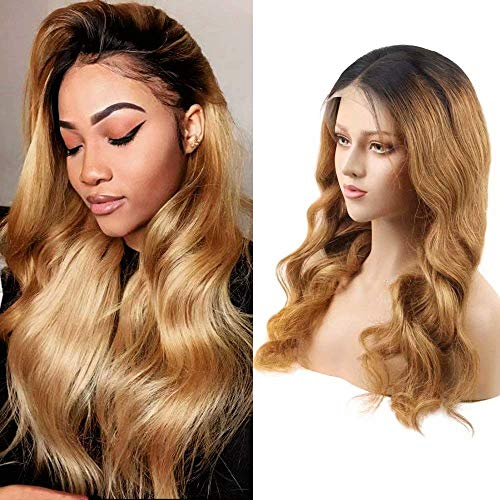Affordhair 1B/27 Ombre Lace Frontal Remy Hair Wigs with Baby Hair, 13x6 150% Density Glueless Human Hair Lace Wig, Body Wave Remy Hair Wigs, 16 Inches