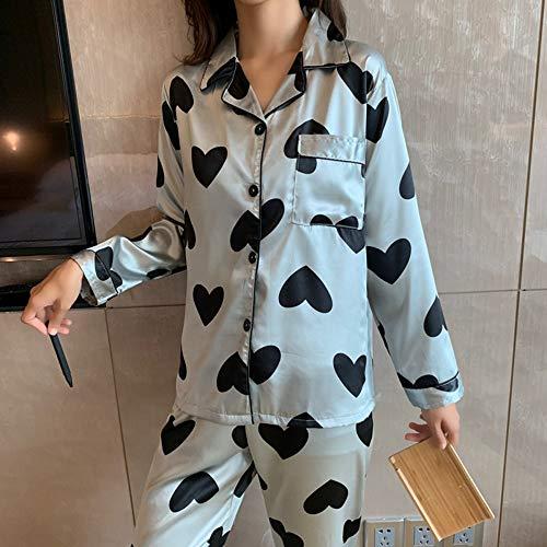 Pijama De Manga Larga,Las Mujeres Jóvenes Cardigan Pijama Conjunto Negro De Seda...