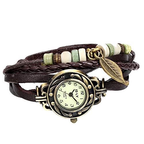 JewelryWe Women Quartz Bracelet Watch Fashion Weave Wrap Around Leather Wrist Watch, Brown