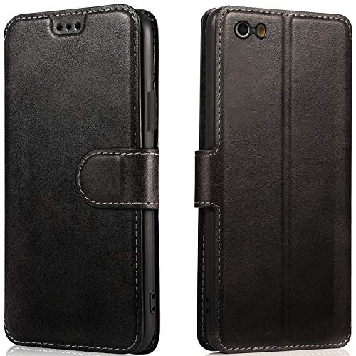 LeYi Funda iPhone 5S SE 5 con HD Protector Pantalla, Carcasa Libro Tapa Silicona TPU Bumper Leather Soporte Cartera Case Flip Cuero Wallet Slim Antigolpes Cover para Movil iPhone 5S Negro