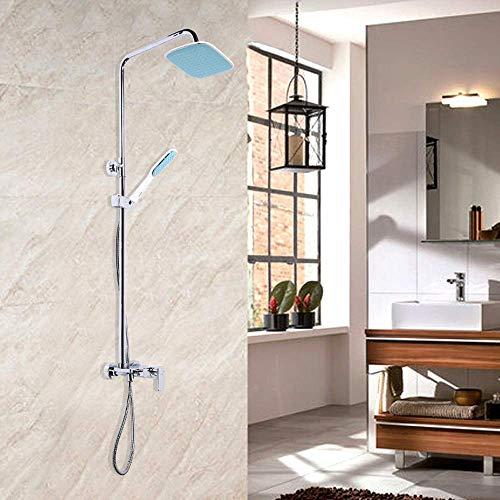 KANJJ-YU Galvanoplastia juego de ducha de cobre ducha caliente y fría del grifo larga Arriba spray ducha de mano Hermosa práctica Cromo