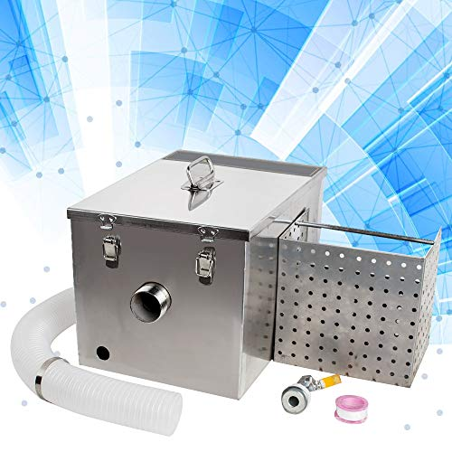 Grease Trap Interceptor Set,Lolicute Stainless Steel Grease Trap Interceptor Detachable Design For Restaurant Kitchen Wastewater Removable Baffles-USA Shipping