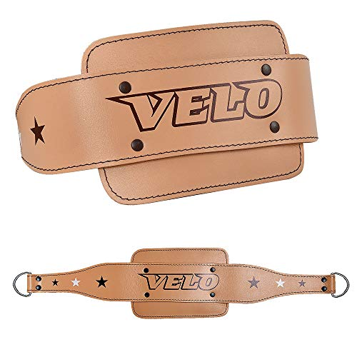 VELO. Leather Dip Belt Weight Lifting Training Gym Back Support Dipping Power Strap Chain Heavy Body Fitness Building Exercise Dead Lifting men women unisex