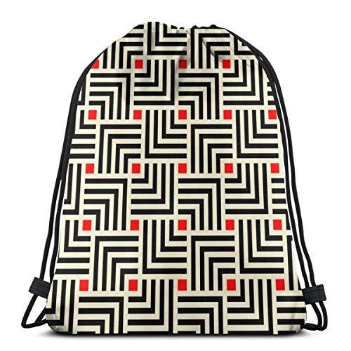 MAY-XCustom Sportbeutel,Japanisches Geometrisches Fliesenmuster, Art-Deco-Hintergrund-Cinch-Tasche, Dekorative Reise-Cinch-Taschen Zum Klettern Wandern Reisen