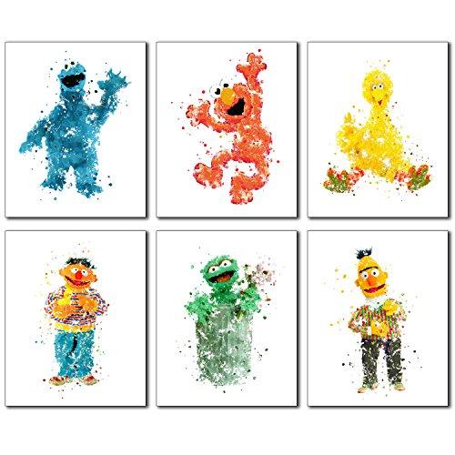 Sesame Street Watercolor Wall Art Prints - Set of 6 Photos Elmo Big Bird Cookie Monster Burt Ernie Oscar The Grouch