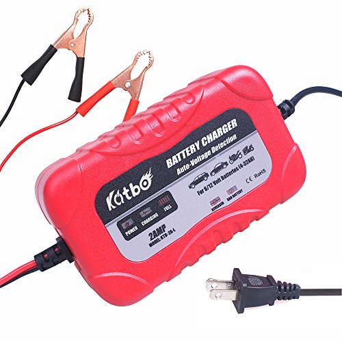 KATBO 2Amp Smart Battery Charger Maintainer 6V 12V Technology Sealed Lead Acid Battery Trickle Charger Maintainer for Cars 4 Wheelers Motorcycles ATVs RVs Powersports
