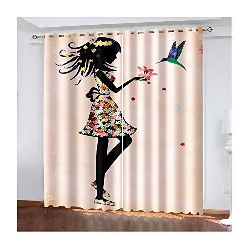 Daesar Lot de 2 Rideaux Salon, Rideaux Occultants Rose Noir Rideau 3D Chambre Fille avec Fleurs et Oiseaux Rideau Cuisine Occultant 132x244CM