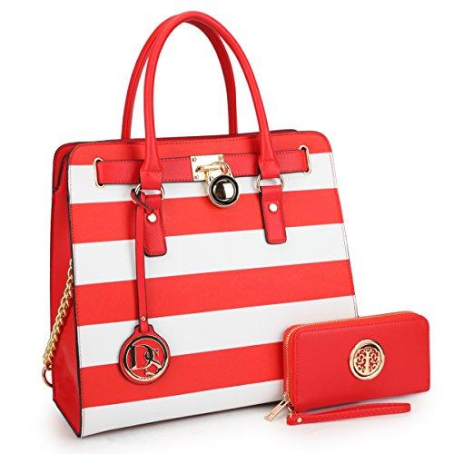 DASEIN Fashion Top Belted Tote Satchel Designer Padlock Handbag Shoulder Bag for Women (2553w-red stripe)