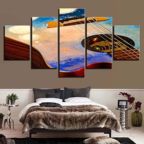 TIANJJss 5 foto's op canvas met muziek poster gitaar piano viool trommel phonograaf DJ 5 stuks wandafbeeldingen voor de woonkamer schilderij kleur kunst home decor