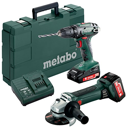 Metabo 685082000 Combo Set 18 V Drill BS Cordless Angle Grinder W 18 LTX 125 Quick, Green; Grey; Black; Red