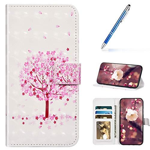 URFEDA Kompatibel mit Samsung Galaxy S7 Edge Handyhülle Handytasche 3D Bunt Bling Glitzer Glänzend Muster Leder Hülle Klapphülle Brieftasche Schutzhülle Bookstyle Tasche Case Cover,Kirsche Blumen