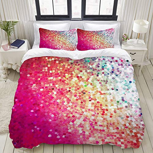 Dodunstyle Duvet Cover,Colorful Sequin Mermaid Geometric Dot Gradient Shiny Mosaic Rainbow Prom Festival Print,Bedding Set Ultra Comfy Lightweight Microfiber Sets