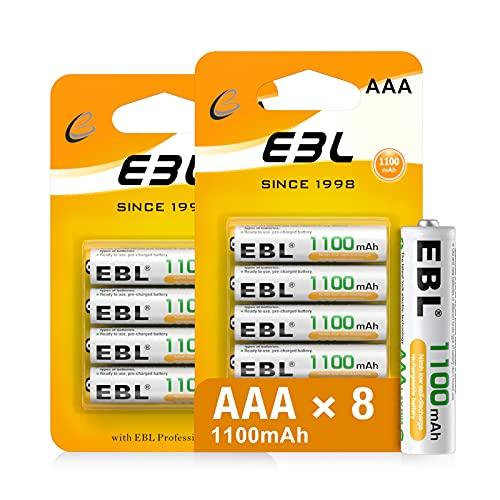 EBL 1.2V AAA Batterie Ricaricabili Durature, Pile Ricaricabili da 1100mAh Ni-MH con 1200 cicli, Confezione da 8 pezzi