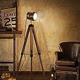 ZFAME Lámpara de pie trípode de Madera de la Vendimia, 180 ° Ajustable Retro Reflector Industrial E27 1.41M de luz Vertical, con el Interruptor de pie, de salón Dormitorio