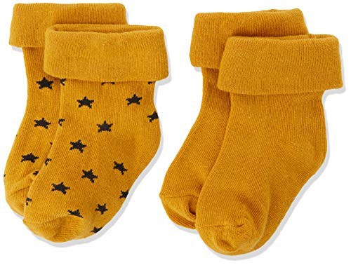 Noppies Baby-Unisex U 2 pck Levi Stars Socken, Gelb (Honey Yellow C036), One Size (Herstellergröße: 0M-3M)