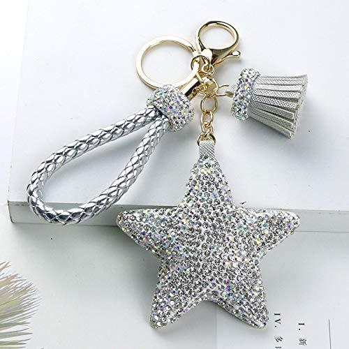 Y-M-H Diamante Cinco Puntiagudo Llavero de Estrella Neta Tassel Rojo Colgante Mochila Colgante Dama Regalo 10 cm (Color : Silver)