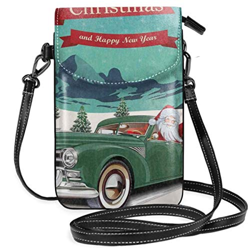 Women Small Cell Phone Purse Crossbody,Santa Claus In A Classic Car With Bag Of Toys Snow Winter Starry Night New Year