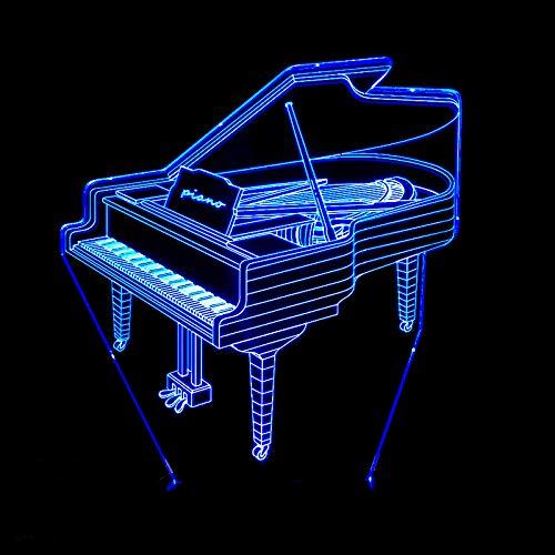 HNXDP Neue 3D Kreative Piano Visual Stereo Licht Kreative Nachtlicht Touch Bunte Farbwechsel Kleine Tischlampe A4 Riss basis + fernbedienung