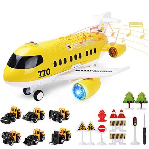 Coolplay Flugzeug mit Auto Baufahrzeuge für Kinder, Transporter Spielzeugautos Geschenk Flugzeug Spielzeug Auto für Ab 3-6 Jahre Junge Kinder