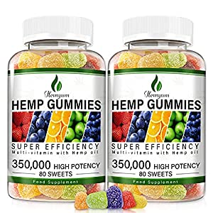 2Pack Hemp Gummies 350,000MG Anxiety & Stress Relief - 160ct - Sleep Aid,Calm & Mood Support Premium Natural Hemp Extract Rich in Omega 3-6-9