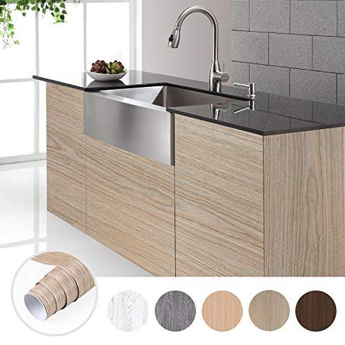 KINLO Holztapete Selbstklebende Wandtapete Naturholz Dekorfolie Möbelfolie 0.61 * 5M Tapeten Wandaufkleber aus PVC 0.61 * 5M Farbe C