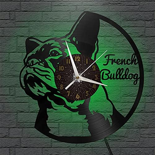 Tema bulldog francese Vinile Record Wall Clock, Orologio da parete per cucina Casa Soggiorno Camera da letto Scuola Parrucchiere Design Attrezzature professionali Parete Decor