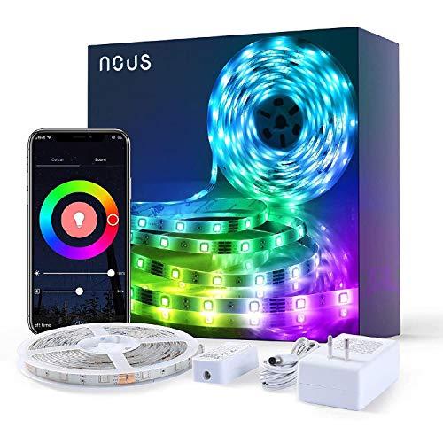 Nous Tira LED Alexa, 5 metros, tira LED RGB Smart WiFi, 5050 LED con aplicación controlable, compatible con Alexa, Google Assistant