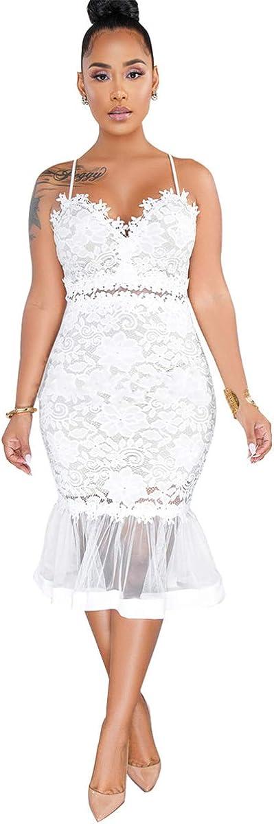 Womens Sexy Sleeveless Deep V Neck Lace Mesh Paneled Ruffles Bodycon Party Clubwear Dress