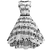 Women Vintage Music Printing Bodycon Sleeveless Casual Evening Party Prom Swing Dresses (White, XL)