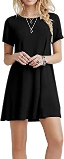 YOUCHAN Vestidos Mujer Verano Casual Manga Corta Cuello Redondo Sólida Mini Vestido