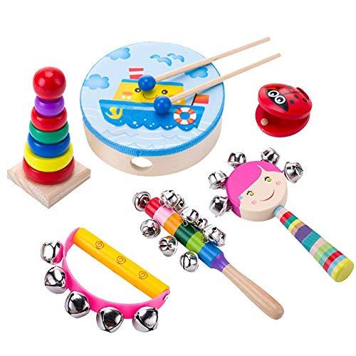 Musikinstrumente Kinder Set,Musikinstrument Spielzeug für Kinder, Holz Schlagzeug Set Schlagwerk Rhythm Spielzeug,Baby Spielzeug für Kleinkinder Kinder Vorschulischkinder (6pcs)
