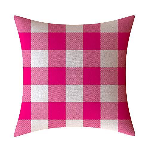 HOSD Christmas Plaid Pillow Case Funda de Almohada Decorativa Sofá Respaldo