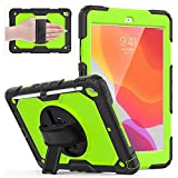 Weuiean Compatible with iPad 8th Generation 2020 Case/ 7th Generation 10.2 Inch 2019 Case, 360 Degrees Rotate Hand Controlling with Screen Protector Shock Proof Protective Case - Green