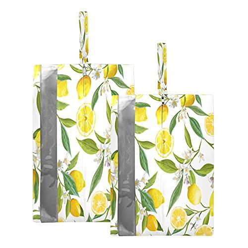 F17 - Borsa da viaggio per scarpe da viaggio con fiori di limone, frutta, fiori, impermeabile, portatile, leggera, per scarpe da viaggio, per uomini e donne, 2 pezzi